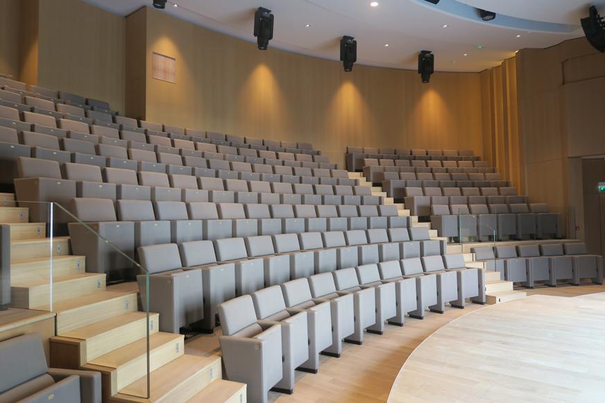 L'auditorium donne sur le jardinet attenant et est équipé de très beaux matériaux: bois, éclairage, etc.